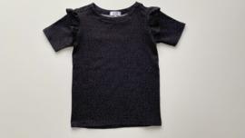 Shirtje Tricot/stretch zwart korte mouw witte drupjes met ruffles