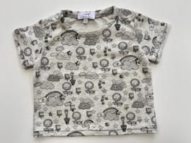 Tricot/stretch shirtje grijs ecru grijs gemêleerd met gevarieerde print