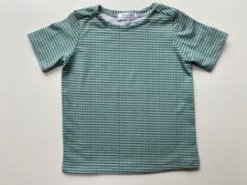 Tricot/stretch shirtje zeegroen met donkergroen print