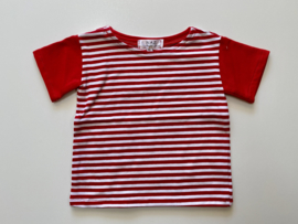 Tricot/stretch  shirtje rood wit gestreept