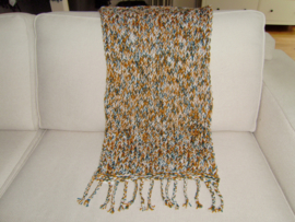 Gebreid woonplaid multicolor gemêleerd met franjes 100x50 cm