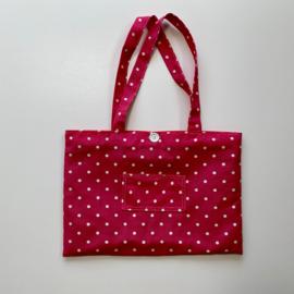 Stoffen strandtas roze, witte stip