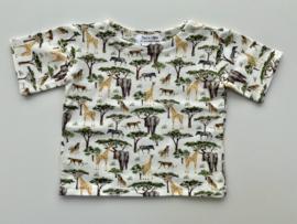 Tricot/stretch  shirtje ecru safari