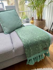 Fleece woonplaid groen met gehaakte rand en franjes c.a. 70x160 cm