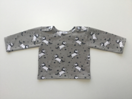 Tricot/stretch shirtje grijs met unicorns