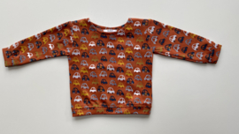 Shirtje Tricot/stretch goudbruin met autootjes