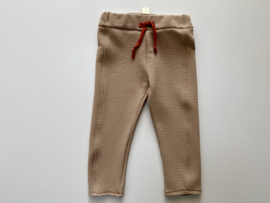 Tricot stretch rechte broek zandkleur met stiksel