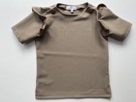 Shirtje Tricot/stretch beverbruin korte mouw, ruffles
