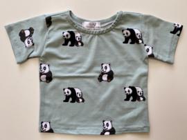Tricot/stretch  shirtje groen met panda's