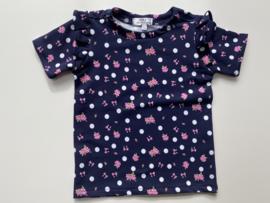 Shirtje Tricot/stretch donkerblauw korte mouw, ruffles
