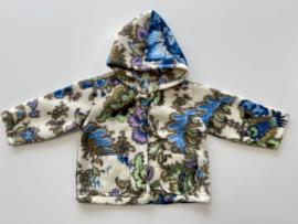 Fleece jasje ecru met diverse kleuren en capuchon