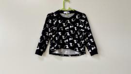 Tricot/stretch shirtje zwart met poesjes
