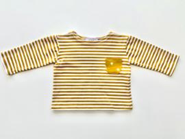 Tricot/stretch shirtje okergeel ecru gestreept