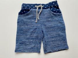 Tricot stretch kort broekje blauw ecru gestreept