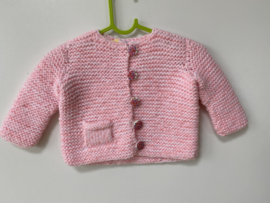 Babyvestje / peutervestje gebreid roze/ecru