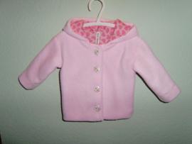 Fleece jasje roze met capuchon gevoerd