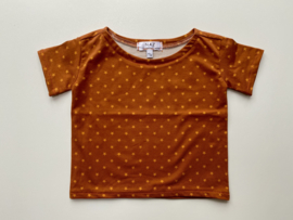 Tricot/stretch  shirtje roestbruin met sterretjes