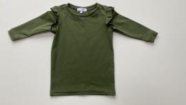 Shirtje Tricot/stretch groen ruffles