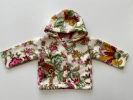 Fleece jasje ecru met roze bloemen en capuchon
