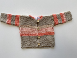 Jas/vestje zand en roze kleurig maat 50/56