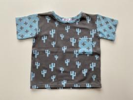 Tricot/stretch  shirtje grijs met cactusjes
