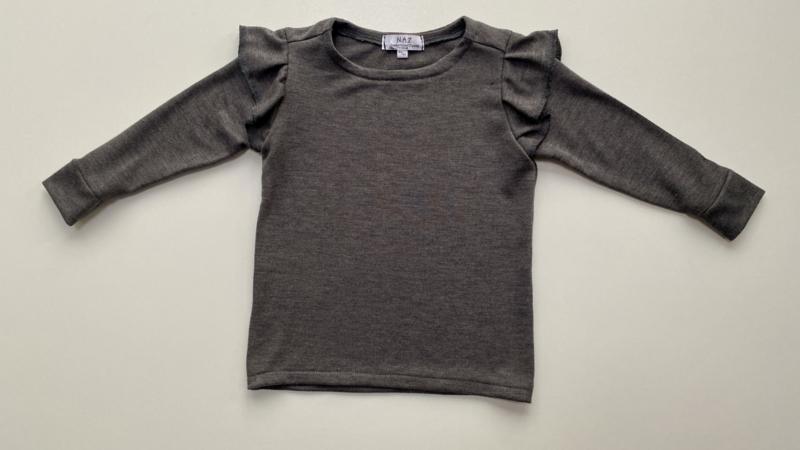 Shirtje Tricot/stretch grijs ruffles