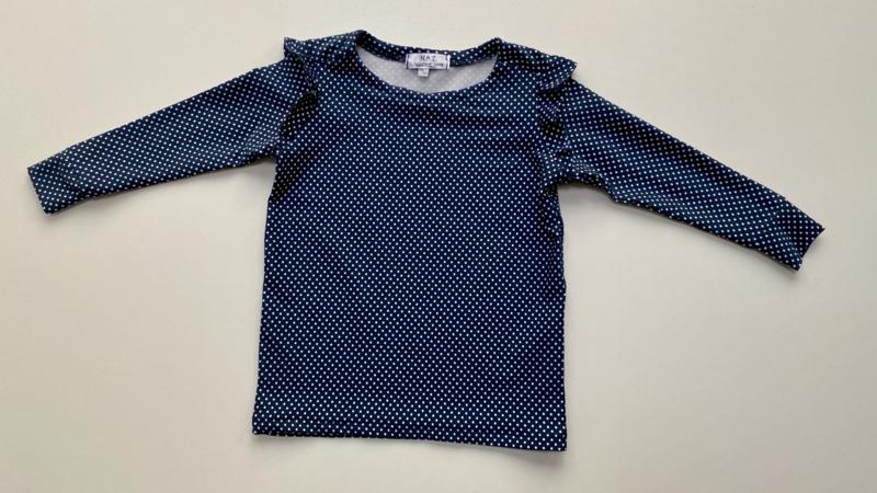 Shirtje Tricot/stretch blauw met ruffles met stipjes