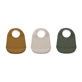 Liewood | Maru Silicone Bib 3-pack | Hunter Green Multi Mix