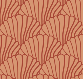 Swedish Linens | Seashells Terracotta Pink - Burgundy Red | 60x120 cm