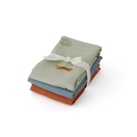 Oyoy Living Design| Muslin square | Tiger 3 pack | Green