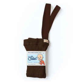 SillySilas | Retro Ribbed Children Tights |  Chocolate Brown