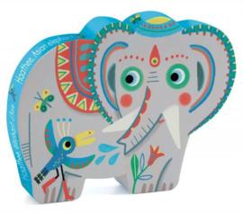 Djeco | Silhouette Puzzle | Haathee Asian Elephant | 24 stuks