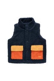 Tiny Cottons | Tiny Color Block Sherpa Vest | Navy