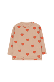 Tiny Cottons | Hearts Tee | Light Nude - Red