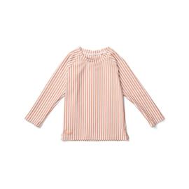Liewood   Noah Swim Tee Seersucker   Stripe Coral Blush - Creme De La Creme