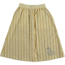 Bonmot long skirt front buttons thin stripes mellow yellow