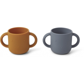 Liewood | Gene Silicone Cup 2-Pack | Rabbit | Blue Wave