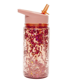 Petit Monkey | Drinking Bottle Glitter | Peach Blossom