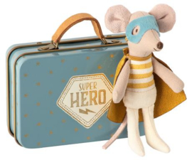 Maileg | Superhero Mouse in Metal Suitcase