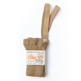 SillySilas | Retro Ribbed Children Footless Tights | Light Brown