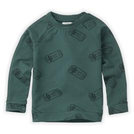 Sproet & Sprout   Sweatshirt Raglan Ticket AOP   Dusty Green