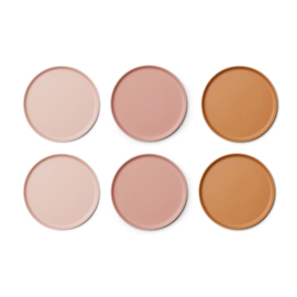Liewood | Patrick Bamboo Plate - 6 Pack | Rose Multi Mix