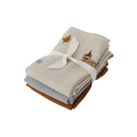 Oyoy Living Design| Muslin square | Leopard 3 pack | Clay