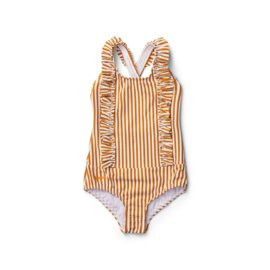 Liewood | Moa Swimsuit Seersucker | Stripe Mustard - White