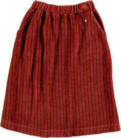 Bonmot | Skirt Velvet All Over Stripes | Rust