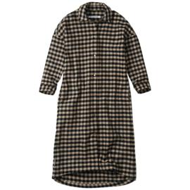 Mingo | Oversized Checked Flannel Shirt Dress | Caramel / Black
