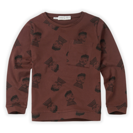 Sproet & Sprout   T-Shirt Pierrot AOP   Chocolate