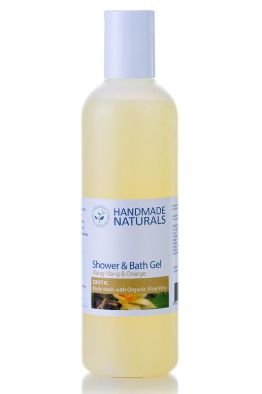 HANDMADE NATURALS - Bad- en douchegel Exotic met Ylang & Sinaasappel 250 ml.