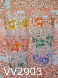Glazen/limonadeglaasjes 'Retro' (set van 4)