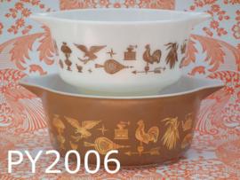 Pyrex Ovenware Cinderella schalen 'Heritage' bruin/goud/wit (set van 2)